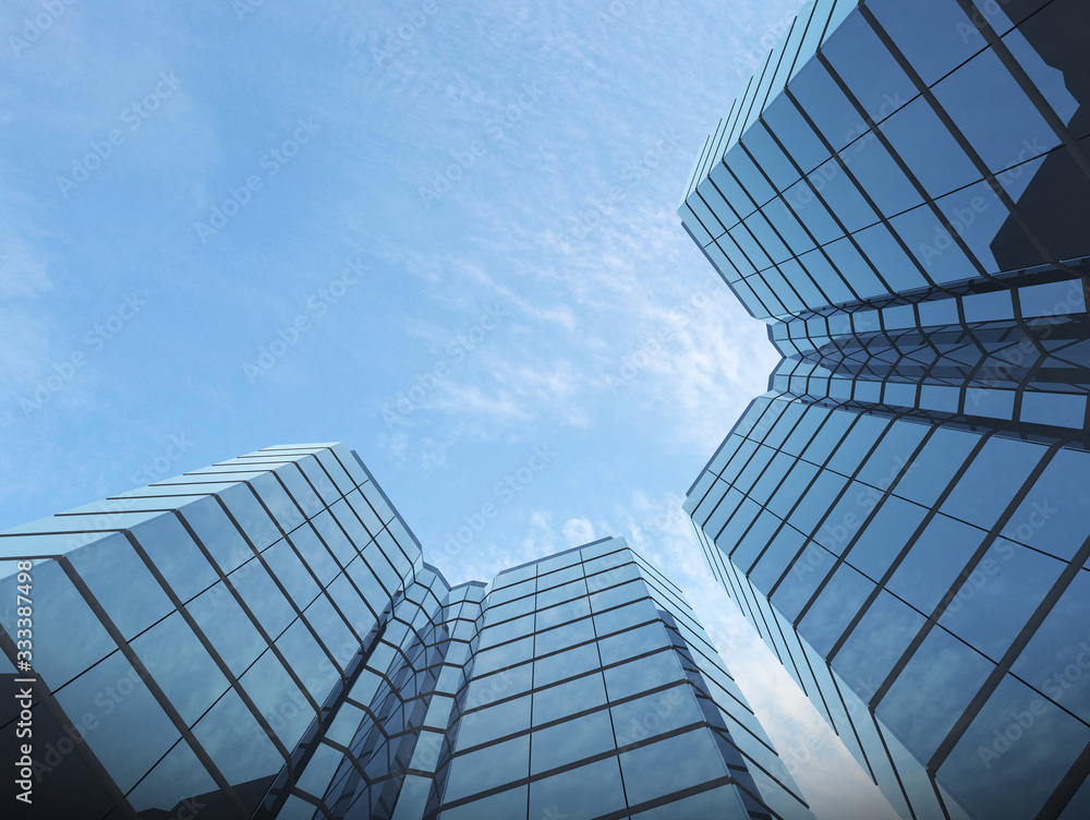 Fototapeta View of glass building on blue sky background,Business concept of future architecture,looking up to the light on the top of building. 3d rendering.