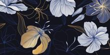 Luxury Vintage Floral Line Arts Golden Wallpaper Design. Exotic Botanical Wallpaper, Vintage Boho Style For Textiles, Fabric, Paper, Banner Website, Cover Design Vector Illustration.
