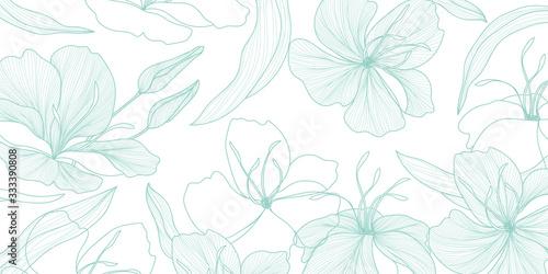 luxury vintage floral line arts wallpaper design. Exotic botanical wallpaper, vintage boho style for textiles, fabric, paper, banner website, cover design Vector illustration.