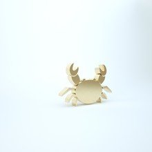 Gold Crab Icon Isolated On Whi...