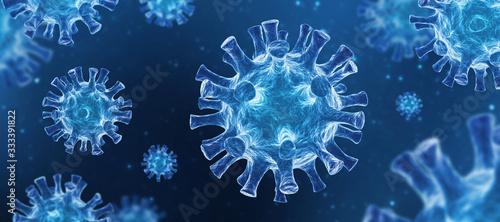 Fotografie, Obraz Coronavirus COVID-19 - Arrière-plan de virus flottant - Virologie et Microbiolog