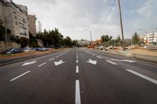 Jerusalem, Israel - Ha-Rav Herzog Street - 27 03 2020: Empty Streets During Corona Virus Quarantine
