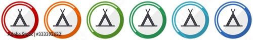 Fototapeta Camp icon set, flat design vector illustration in 6 colors options for webdesign and mobile applications obraz