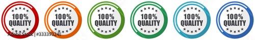 Fotografía Quality icon set, flat design vector illustration in 6 colors options for webdes