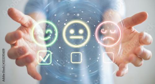 User using customer satisfaction rating interface 3D rendering Fototapete