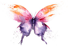 Watercolor Drawing - Butterfly Made Of Blots And Splashes