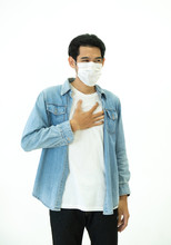 Asian Man Feel Pain On Lung And Wear Protective Mask Protect Air Pollution Or Transmissible Infectious Diseas And Coronavirus Or Covid-19 Isolated On White Background, Healthcare And Illness Concept.