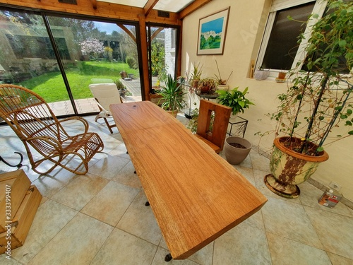 Fotografie, Tablou veranda table bois massif exotique rotin design tendance