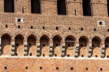 Castello Sforzesco. Closeup Of The Fortified Wall Of The Sforza Castle (XV Century), Milan, Lombardy, Italy, Europe