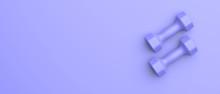Dumbbells Set Blue Color Isolated On Blue. 3d Illustration