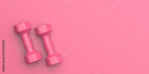 фотографія Dumbbells set pink color isolated on pink. 3d illustration