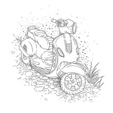 Sketch Style Outline Line Vector Illustration Of Motorbike, Scooter Standing By The Wall. Coloring Book.