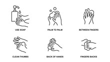 How To Wash Your Hands Properly Line Icons. Hand Hygiene Vector Illustration. Editable Stroke