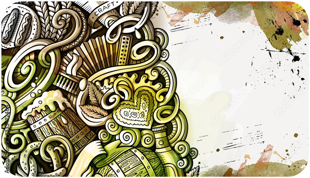 Fototapeta Beer Fest hand drawn doodle banner. Cartoon detailed flyer.