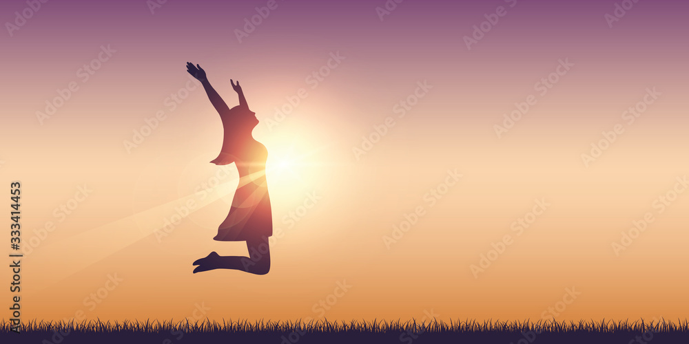 Fototapeta happy girl with raised arms jumps at sunshine vector illustration EPS10