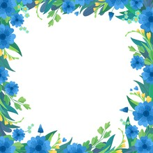Floral Square Empty Frame Flat Vector Template. Blue And Yellow Wildflowers Blank Border For Social Media Post, Greeting Card Design. Cornflowers And Daisy Blossoms
