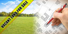 Rural Scene With Vacant Land For Sale Written On A Yellow Label Over An Imaginary City Map And A Green Area