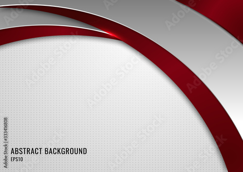 Obraz Abstract template red and gray curve on square pattern white background. - fototapety do salonu