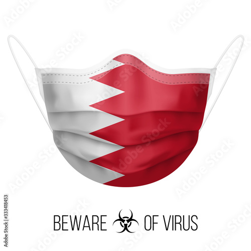 Photo Medical Mask with National Flag of Bahrain as Icon on White