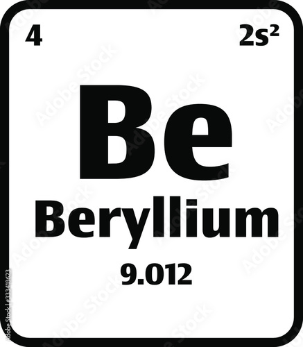 Photo Beryllium (Be) button on black and white background on the periodic table of elements with atomic number or a chemistry science concept or experiment