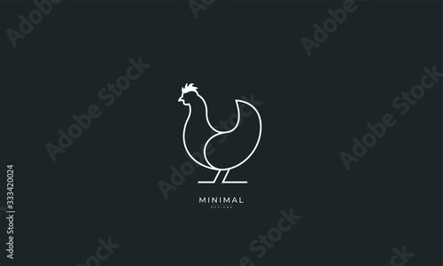 Photo A line art icon logo of a CHICKEN, HEN, ROOSTER