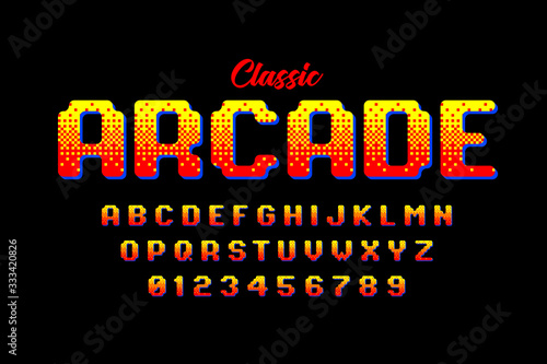 Photo Retro style arcade games font, 80s video game alphabet letters and numbers