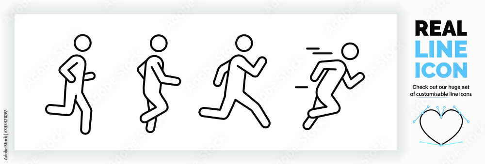 Fototapeta Editable real line icon set of a boy stick figure running fast and jogging in a outline design in modern black lines on a clean white background as a EPS vector file