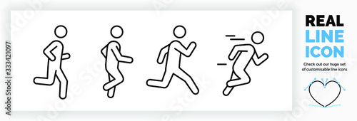Fototapeta Editable real line icon set of a boy stick figure running fast and jogging in a outline design in modern black lines on a clean white background as a EPS vector file obraz