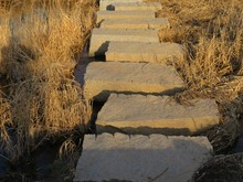 Sunlit Stone Steps Crossing A Dry Grass Creek Bed In Afternoon Light