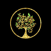 Life Tree Glitter Sparkling Logo Concept Isolated On Black