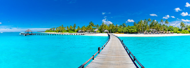 Maldives island beach panorama. Palm trees and beach bar and long wooden pier pathway. Tropical vacation and summer holiday background concept