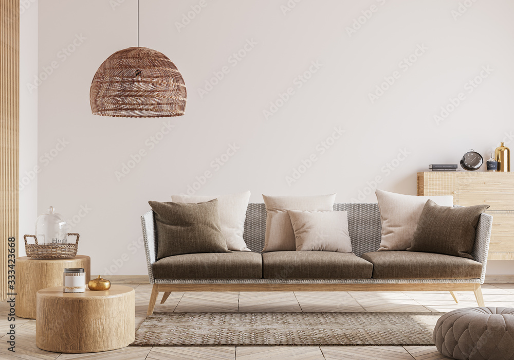 Fototapeta Cozy living room interior, Scandinavian style mock up. Rattan ceiling lamp , wooden table, furniture and elegant accessories. ready to use