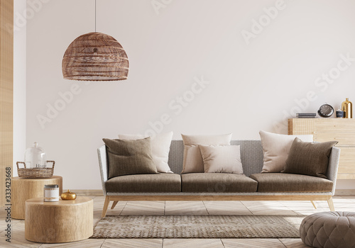 Cozy living room interior, Scandinavian style mock up. Rattan ceiling lamp , wooden table, furniture and elegant accessories. ready to use