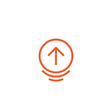 Scroll The Page Or Swipe Up Pictogram. Red Thin Rounded Arrow Up In Circle Icon.