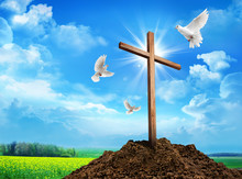 Wooden Cross On Dirt Hill And ...