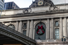 Grand Central Terminal  In Midtown Manhattan  New York City External Daylight Low Angle View With No People Showing Top Of Building And Its Clock