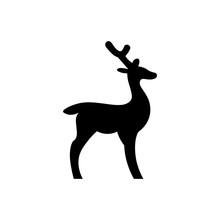 Deer Black Sign Icon. Vector I...