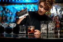 Pretty Woman Barman Preparing ...
