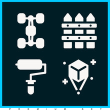 Set Of 4 Texture Filled Icons