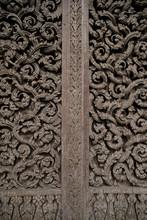 Lod Wood Door And Thai Pattern