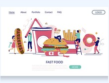 Fast Food Vector Website Landing Page Design Template