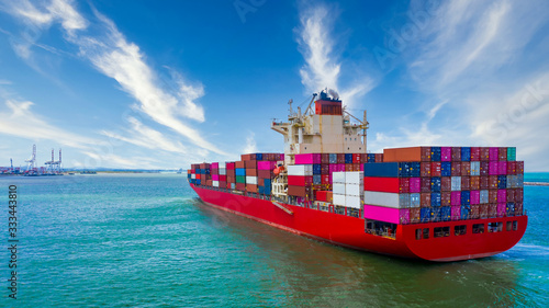 Container cargo ship, Freight shipping maritime vessel, Global business import e Wallpaper Mural