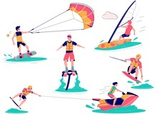 Extreme Water Sports Set, Vector Flat Isolated Illustration