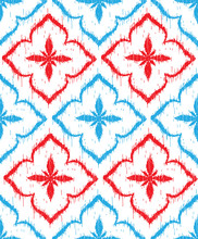 Vector Seamless Pattern Design With Ikat Ornaments