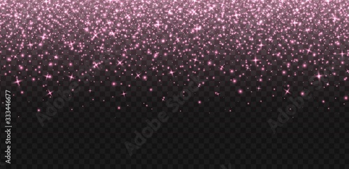 Falling rose gold sparkles, abstract luminous particles, pink stardust isolated on a dark background Canvas Print