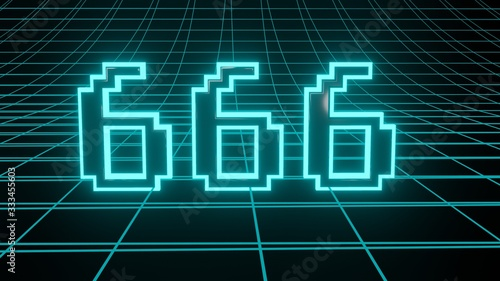 Платно Number 666 in neon glow cyan on grid background, isolated number 3d render