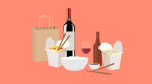 Vector Isolated Illustration Of Chinese Food Take Away, With Wine And Beer