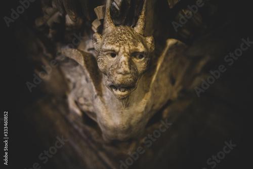 Viso di pietra demone nella chiesa di Siena Canvas Print