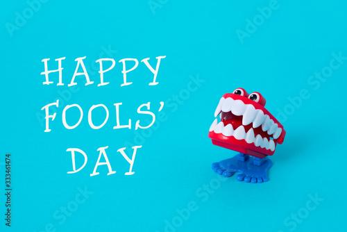 funny denture and text happy fools day Fototapeta