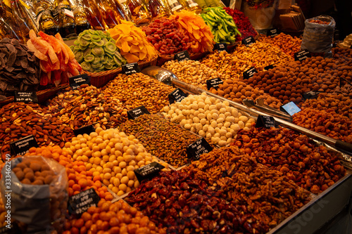 Photo Barcelona market nuts and fruit